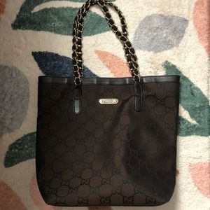 Gucci brown monogram shoulder bag purse
